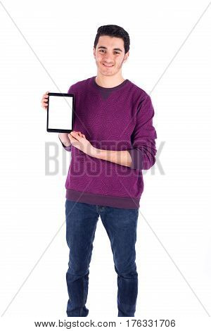 Youn man holding tablet device - isolated