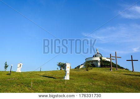 Calvary hill in Hercegkut Button Hill near Sarospatak Hungary