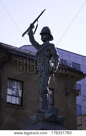 Halifax, Nova Scotia, September 23, 2015 -- depicting a soldier from the south African campaign in the late 1800s on a bright sunny day in downtown Halifax, Nova Scotia