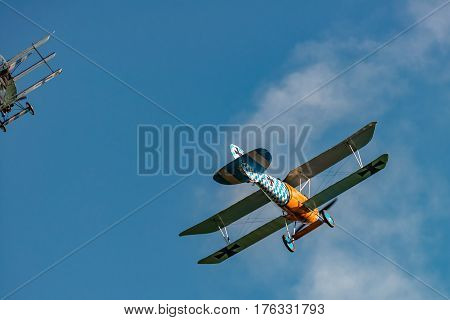 RHINEBECK NY - SEPTEMBER 25 2016: The Aerodrome Air Show Team perform a show with the World War I plane Albatros D.Va (Reproduction) at Old Rhinebeck Aerodrome