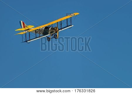RHINEBECK NY - SEPTEMBER 25 2016: The Aerodrome Air Show Team perform a show with the World War I plane Curtiss JN-4H (Original) at Old Rhinebeck Aerodrome