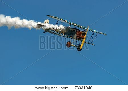 RHINEBECK NY - SEPTEMBER 25 2016: The Aerodrome Air Show Team perform a show with the World War I plane Fokker D.VII (Reproduction) at Old Rhinebeck Aerodrome