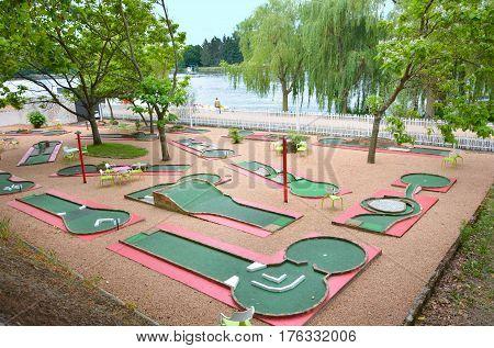 Mini golf club in a small park