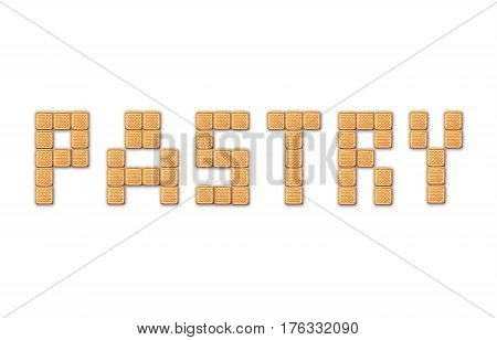 brown word pastry isolated on the white background. Word pastry isolated on the white for signboard in the confectionery