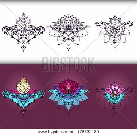 Freehand drawing of lotus flowers in east style. Can be used for backgrounds business style tattoo templates cards design prints on clothes or else. Vector illustration.