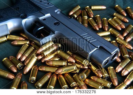 CZ. bullet 9mm background. Ammunition on a green background