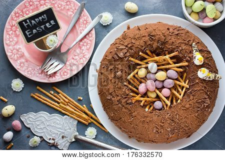 Easter nest cake - elegant spring chocolate cake decorated like a bird nest