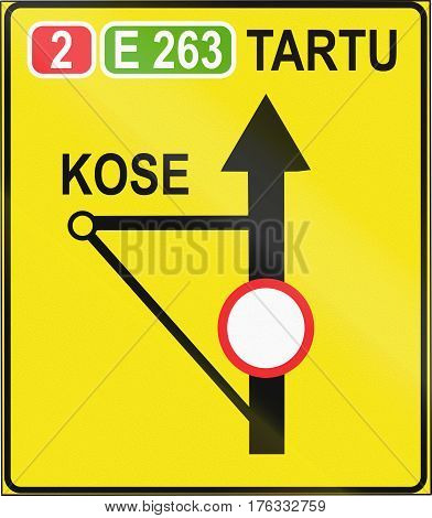 Estonian Temporary Informatory Road Sign With Bypass