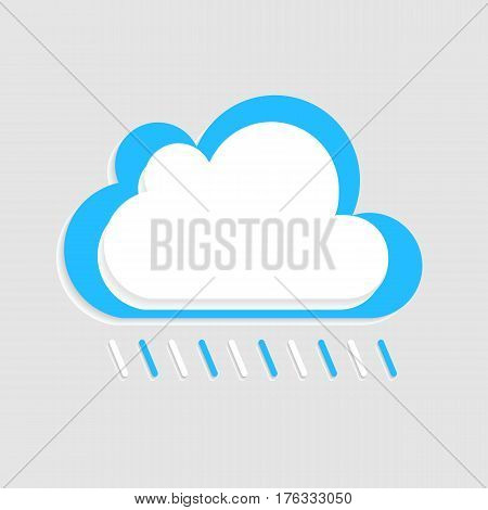 Rainy cloud white blue vector with shadow isolated on the light grey background.Eps 10. Rain cloudburst symbol design.Flat cloudscape illustration for your webart design.