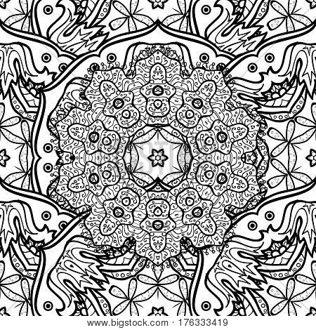 Seamless pattern on background with white elements. Traditional orient ornament. Classic vector white seamless pattern. Classic vintage background.