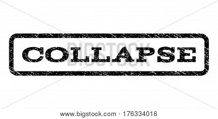 Collapse watermark stamp. Text caption inside rounded rectangle with grunge design style. Rubber seal stamp with dirty texture. Vector black ink imprint on a white background.