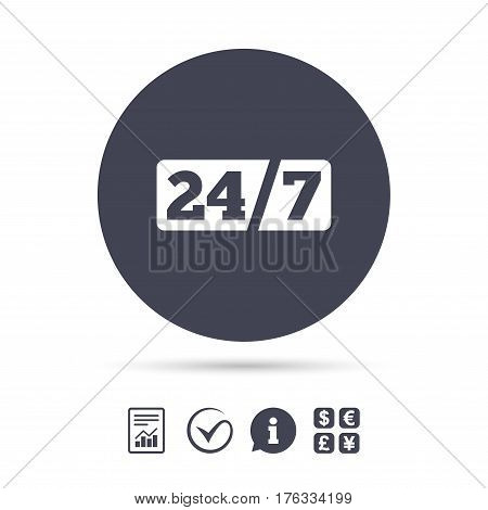 Service and support for customers. 24 hours a day and 7 days a week icon. Report document, information and check tick icons. Currency exchange. Vector