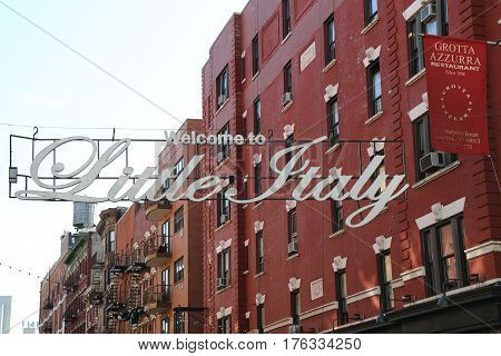 NEW YORK - May 14, 2015: Welcome to Little Italy sign in Lower Manhattan. Little Italy is an Italian community in Manhattan