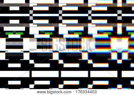 Colorful Background Realistic Flickering, Analog Vintage Tv Signal With Bad Interference, Static Noi