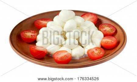 Mozzarella with cherry tomatoes on plate isolated on a white background