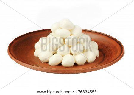 Mozzarella baby on plate isolated on white background
