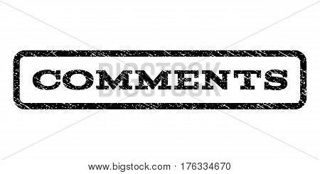 Comments watermark stamp. Text caption inside rounded rectangle with grunge design style. Rubber seal stamp with scratched texture. Vector black ink imprint on a white background.
