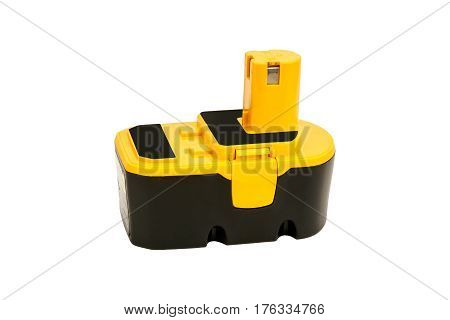 Battery for a cordless power tool isolated on a white background.