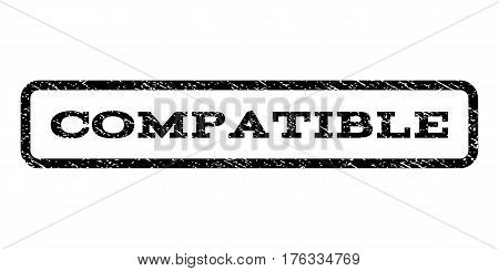 Compatible watermark stamp. Text caption inside rounded rectangle frame with grunge design style. Rubber seal stamp with scratched texture. Vector black ink imprint on a white background.