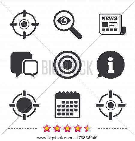 Crosshair icons. Target aim signs symbols. Weapon gun sights for shooting range. Newspaper, information and calendar icons. Investigate magnifier, chat symbol. Vector