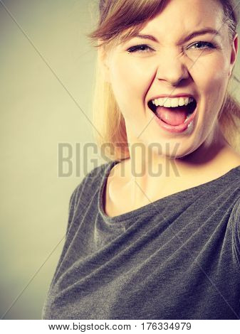 Cheerful Girl Fooling.