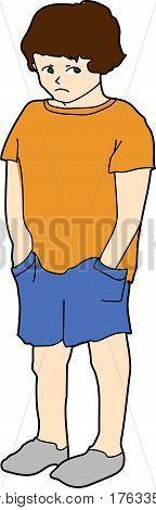 A sad boy in orange t-shirt and blue shorts.