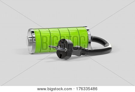 Battery charging. Battery full level, isolated on grey. 3d illustration