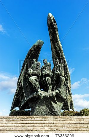 KATOWICE, POLAND - MARCH 13, 2017: Monument to Polish Soldier designed by Bronislaw Chromy and Jerzy Pilitowski, unveiled in 1978 commemorates Polish soldiers who died in World War II.