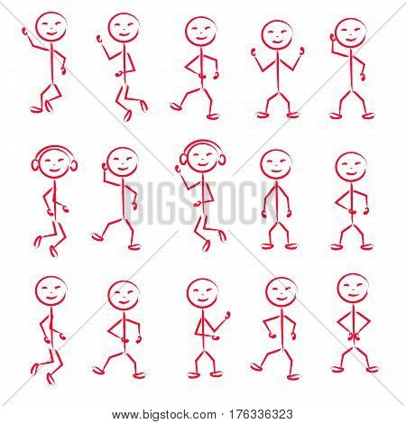 Stick Figure in different poses in motion