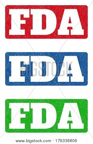 Colored rubber seal stamps with FDA text hole. Vector tag inside rounded rectangular banner. Grunge design and scratched texture for watermark labels. Blue green red scratched sticker.