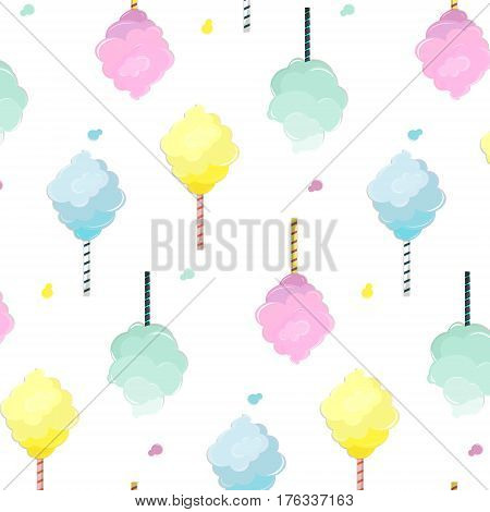 Sweet cotton candy pattern. Cute food texture. Dessert kids decoration with light pink, mint, blue and yellow sugar clouds.Soft pastel fluffy print