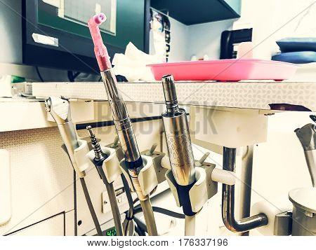 Closeup of dental drills in dental office.