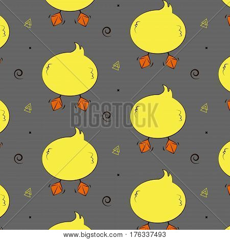 Duck funny pattern. Cute animal wallpaper icon.Simple kids little ducky print.