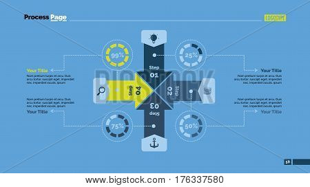 Four cross sides percentage chart. Business data. Comparison, diagram, design. Concept for infographic, presentation, report. Can be used for topics like analysis, statistics, training.