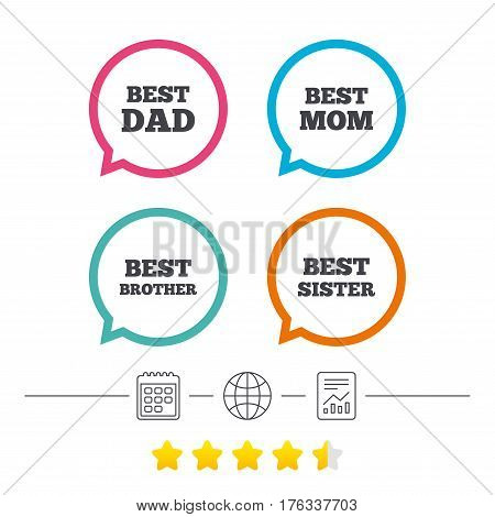 Best mom and dad, brother and sister icons. Award symbols. Calendar, internet globe and report linear icons. Star vote ranking. Vector