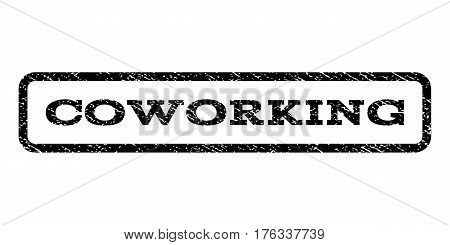 Coworking watermark stamp. Text tag inside rounded rectangle frame with grunge design style. Rubber seal stamp with unclean texture. Vector black ink imprint on a white background.