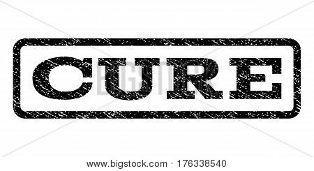 Cure watermark stamp. Text caption inside rounded rectangle frame with grunge design style. Rubber seal stamp with dust texture. Vector black ink imprint on a white background.