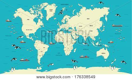 World Map atlas highly detailed vector illustration