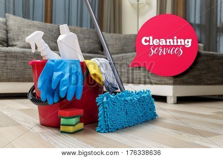 Cleaning service. Bucket with sponges, chemicals bottles and mopping stick. Rubber gloves and towel. Speech bubble. Household equipment.