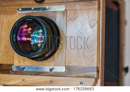 Lens Of An Old Big Wooden Camera Macro View, Concept