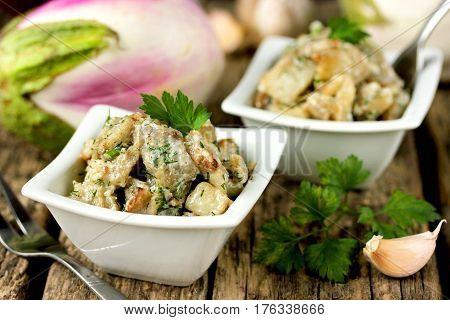 Snack caviar from vegetables eggplant with garlic and mayonnaise traditional Russian cuisine selective focus