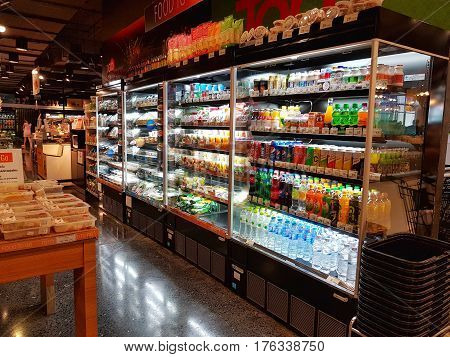 CHIANG RAI THAILAND - MARCH 1 : Soft drinks aisle in supermarket in Central Plaza department store on March 1 2017 in Chiang rai Thailand