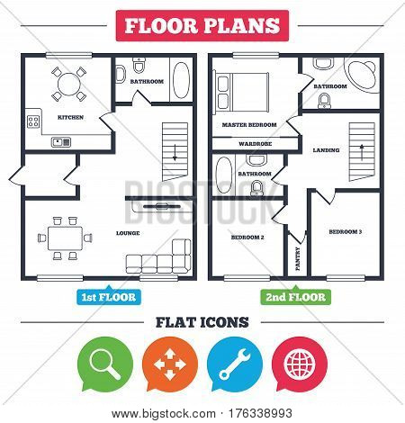 Architecture plan with furniture. House floor plan. Magnifier glass and globe search icons. Fullscreen arrows and wrench key repair sign symbols. Kitchen, lounge and bathroom. Vector