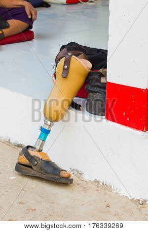 aluminium prostheses on the ground without the owner
