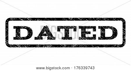 Dated watermark stamp. Text tag inside rounded rectangle with grunge design style. Rubber seal stamp with scratched texture. Vector black ink imprint on a white background.