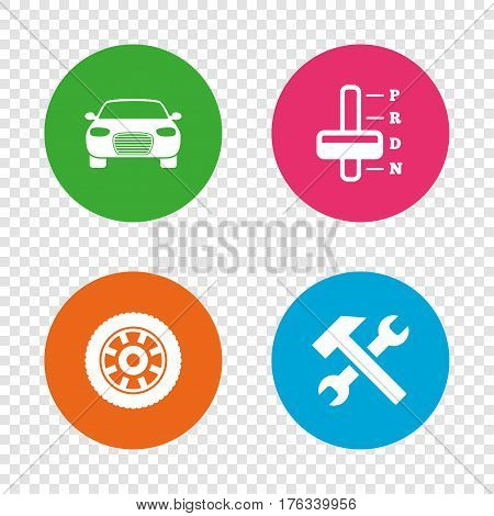 Transport icons. Car tachometer and automatic transmission symbols. Repair service tool with wheel sign. Round buttons on transparent background. Vector