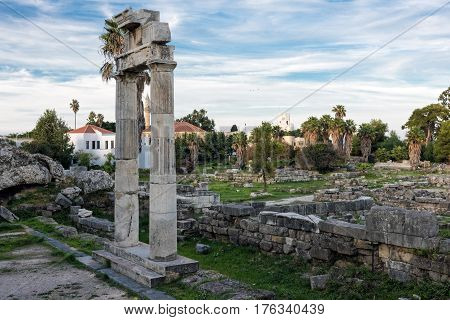 The archaeological site of Ancient Agora in Kos, Greece