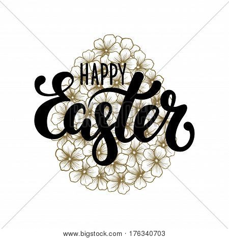 happy Easter Hand drawn calligraphy and brush pen lettering with gold floral silhouette egg. design for holiday greeting card and invitation of the happy Easter day