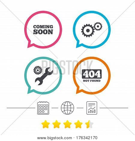 Coming soon icon. Repair service tool and gear symbols. Wrench sign. 404 Not found. Calendar, internet globe and report linear icons. Star vote ranking. Vector