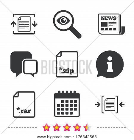 Archive file icons. Compressed zipped document signs. Data compression symbols. Newspaper, information and calendar icons. Investigate magnifier, chat symbol. Vector